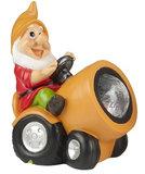 Tuinkabouter op tractor met solar verlichting (oranje)_