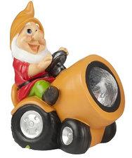 Tuinkabouter op tractor met solar verlichting (oranje)