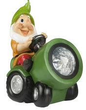 Tuinkabouter op tractor met solar verlichting (groen)