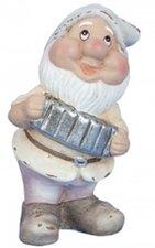 Pastel kleurige tuinkabouter met accordeon (ca.17,5cm)