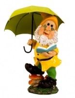 Tuinkabouter met paraplu groen (38cm)