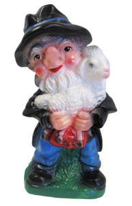 Tuinkabouter als schaapherder (kunststof) 26 cm