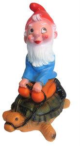Tuinkabouter op schildpad (kunststof) 45 cm